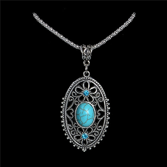 H:HYDE Nice Shipping New Jewelry Bohemia Elegant Hollow Flower Oval Pretty Pendant Natural Stone Green Necklaces Wholesale