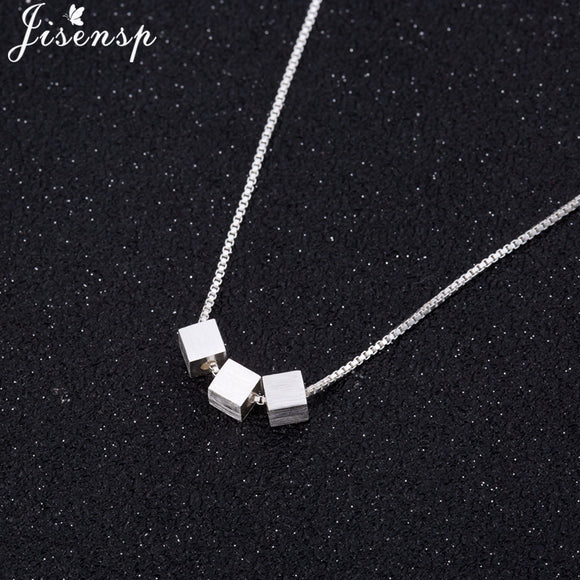 Jisensp Geometric Necklaces & Pendants Silver Color Square Necklace for Women Pendant Collier Femme Party Collares Jewelry