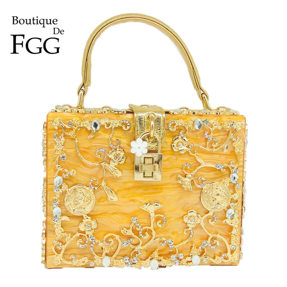 Boutique De FGG Orange Acrylic Crystal Flower Women Fashion Shoulder Handbag Hardcase Evening Box Clutch Crossbody Totes Bag