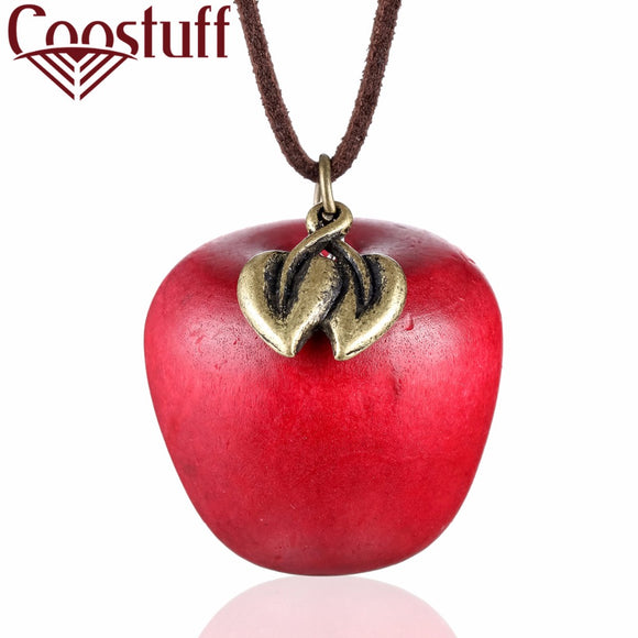 2017 love Women statement necklace apple pendant fashion vintage long rope necklaces & pendants for women jewelry kolye collar
