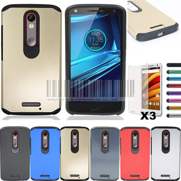 Slim Hybrid Armor Hard Case For Motorola Moto X force/Droid Turbo 2 Impact Protective Cover With Screen Protector+Stylus