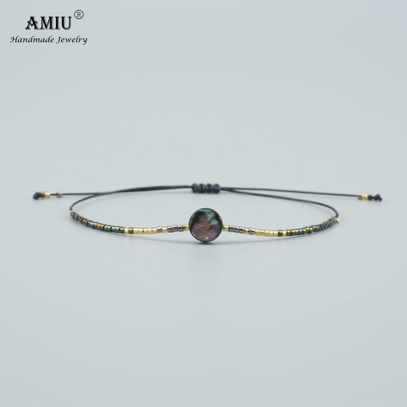 AMIU Handmade Natural Abalone Shell Bead Bracelets & Bangles For Women and Men Handmade Knots Rope MIYUKI Seed Bead Bracelet
