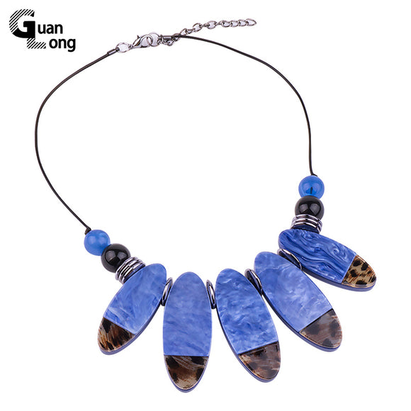 GuanLong Fashion Oval Resin Chunky Statement Necklaces & Pendants For Women 2018 New Year Gift Jewellery