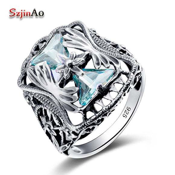 Szjinao Wholesale 925 Sterling Silver Big Rings For Women Blue Aquamarine anel Petals Gift Vintage Wedding Skull Jewelry