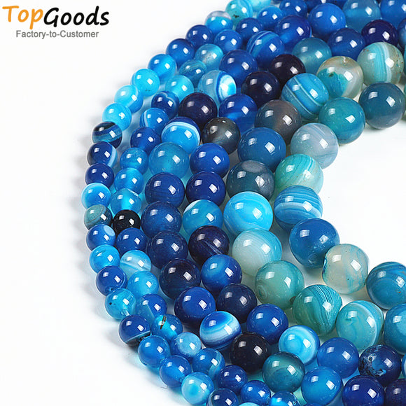 TopGoods Natural Stone Beads Blue Striated Agate Round Loose Blove DIY Bracelet Material 6 8 10 12mm Beads for Jewelry Making