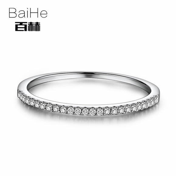 BAIHE Solid 10k White Gold 0.1CT Certified Round 100% Natural Diamonds Women Anniversary Women Classic Fine Jewelry unique Ring