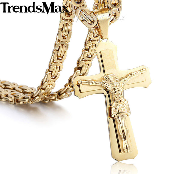 Trendsmax 55cm Christ Jesus Cross Necklace for Men Gold Silver Stainless Steel Byzantine Chain Men's Pendant Jewelry KP483