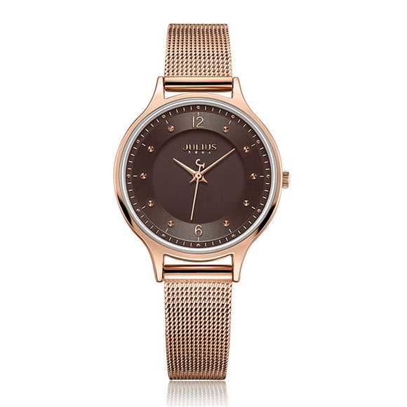 Thin Julius Lady Women's Watch MIYOTA Fashion Hours Stainless Steel Bracelet Business Clock Girl's Birthday Valentine Gift Box