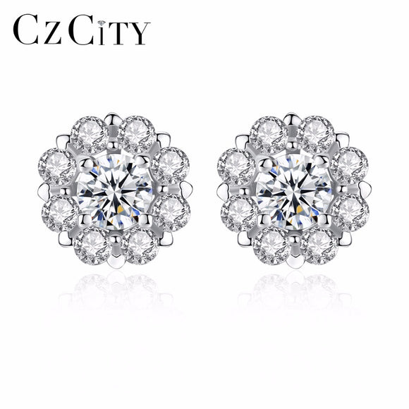 CZCITY Brand Elegant Petal Delicate Women 925 Sterling Silver Stud Earrings for Women Genuine Silver Jewelry Gift