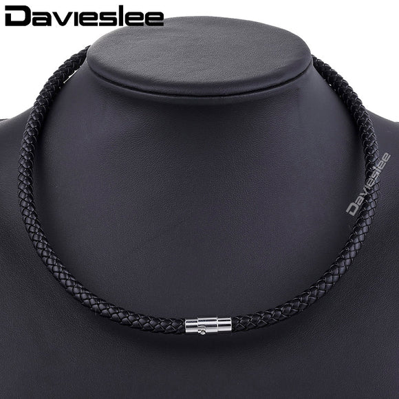 Davieslee Men's Leather Necklace Choker Black Brown Rope Choker Necklace for Women Party Jewelry DLUNM09
