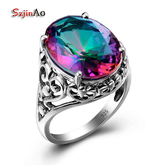Szjinao Sale Charm Punk Heart Solid 925 Sterling Silver Jewelry Mystic Rainbow Topaz Ring For Women Valentine Day Gifts Party