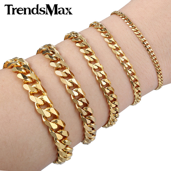 Trendsmax 18cm 20cm Womens Mens Bracelet Stainless Steel Jewelry Gold Silver Color Curb Cuban Link Chain KBM04