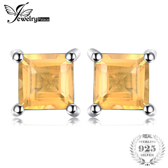 JewelryPalace Square 0.6ct Natural Citrine 925 Sterling Silver Stud Earrings Fashion Fine Jewelry for Women New Anniversary Gift