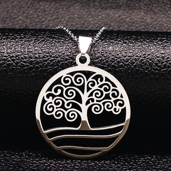 2018 Fashion Tree of Life Necklaces For Women Silver Color Stainless Steel Necklace Pendants Jewelry Gifts Bijoux N611218B