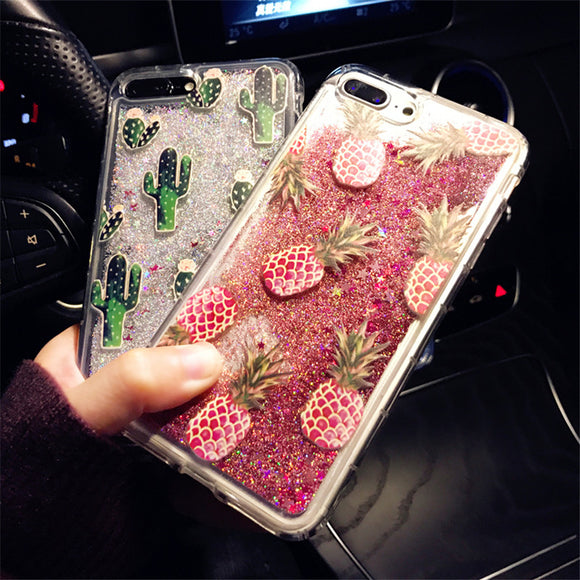 Bling Glitter Dynamic cactus pineapple Liquid Quicksand Phone Back For iPhone 6 6 S 7 Case For iPhone 7 8 X 6S Plus Capa