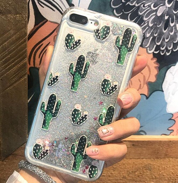 ... Bling Glitter Dynamic cactus pineapple Liquid Quicksand Phone Back For iPhone  6 6 S 7 Case ... 7e87ecad6228
