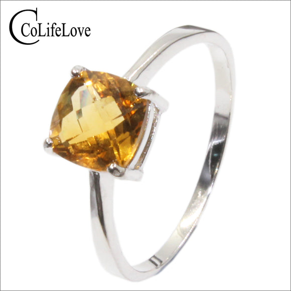 Hot sale luxury silver ring high quality 100% natural citrine ring real 925 Solid Sterling Silver jewelry for lady wedding ring