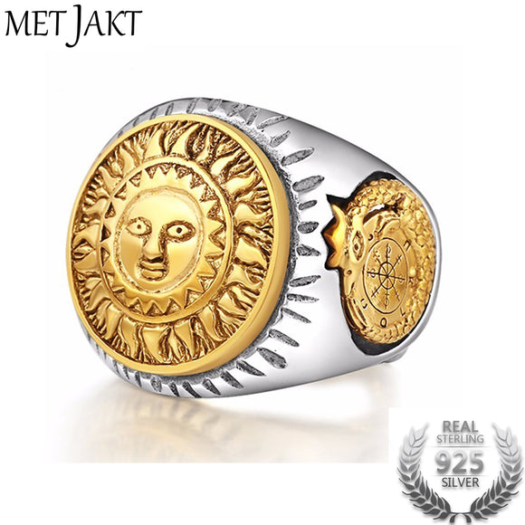 MetJakt 925 Sterling Silver Men Ring Gold Color Sun God Smile Adjustable Size Vintage Punk Handmade Personality Jewelry