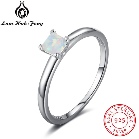 Fine Jewelry 925 Sterling Silver Rings White Opal Stone Engagement Romantic Anniversary Gift For Women Ring (Lam Hub Fong )