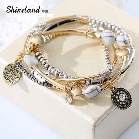 4Pcs/Set Europe America Vintage Fashion Multilayer Beads Hope Letter Blue white Stone Bracelet & Bangles Jewelry For Women 2018