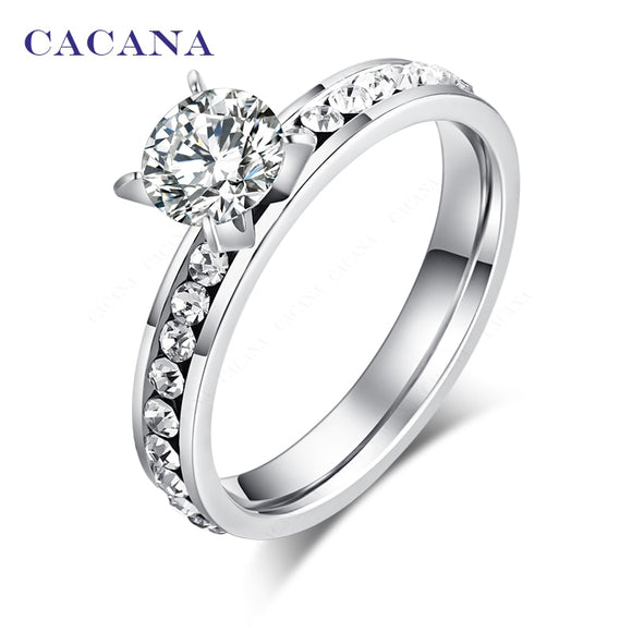 CACANA Titanium Stainless Steel Rings For Women Circle CZ Fashion Jewelry Wholesale NO.R174