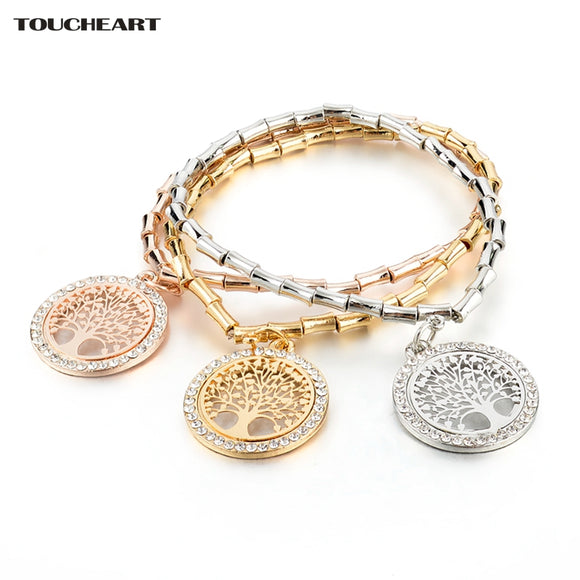 TOUCHEART European and American fashion Gold color Tree of Life Charm Bracelets & Bangle for Women Crystal Bracelet SBR170027