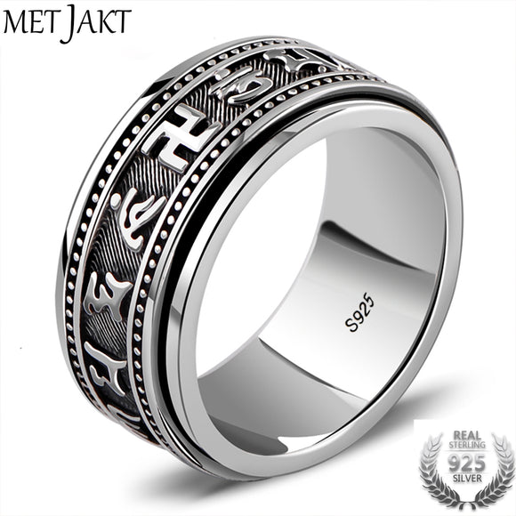 MetJakt Vintage Buddhist Scriptures Rings Solid 925 Sterling Silver Turnable Rings for Men and Women Bring Lucky Jewelry