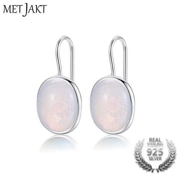 MetJakt Natural Oval Clear Moonstone Drop Earrings Solid 925 Sterling Silver Hook Earring Opal for Women's Fine Jewelry