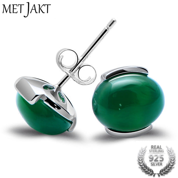 MetJakt Natural Green Agate Earrings and Cat's Eye Solid 925 Sterling Silver Stud Earrings for Women's Vintage Jewelry