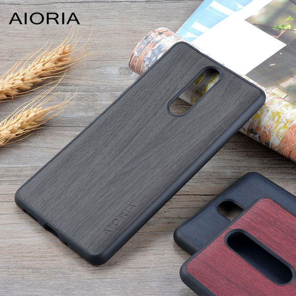 Wooden design case for Nokia 8 soft TPU silicone material with wood PU leather skin covers coque fundas