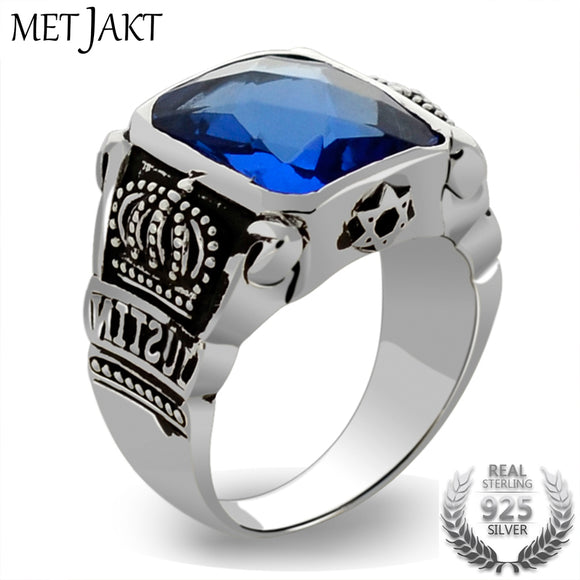 MetJakt Blue Topaz Rings Vintage Crown Rings Solid 925 Sterling Silver Ring for Men's Jewelry Boutique Collections