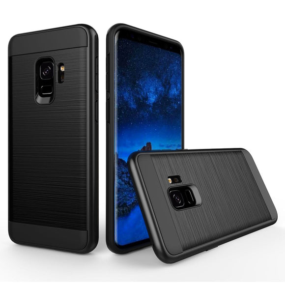 For Samsung Galaxy S9 Hybrid Brush Armor Case Dual Layer Soft Rubber+Hard PC Back Anti Scratch/Drop Cover For Samsung Galaxy S9