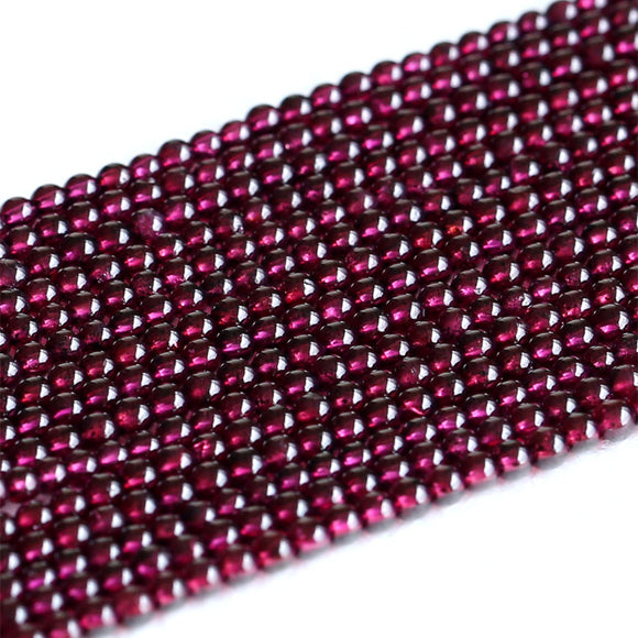 AAA Quality Natural Genuine Clear Purple Red Almandite Garnet Small Round Loose Beads 3mm 15