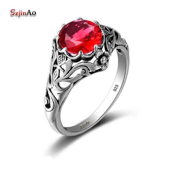 Szjinao Authentic Red Stone Ruby Turkish Jewelry 925 Sterling Silver Rings Engagement Wedding Rings For Women Wholesale