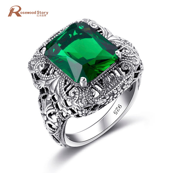 Turkish Jewelry 925 Sterling Silver Rings Green Rhinestone Flower Big Rings bague femme de marque de luxe Vintage Jewelry