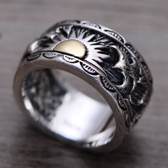 MetJakt Vintage Gents' Jewelry Eagle Wings Sun Totem Ring Solid 925 Sterling Silver Ring for Men Personality Thai Silver Jewelry