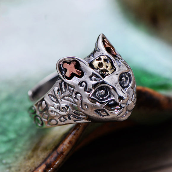 MetJakt Vintage Cute Cat Rings Solid 925 Sterling Silver Open Ring for Women Thai Silver Jewelry Resizable