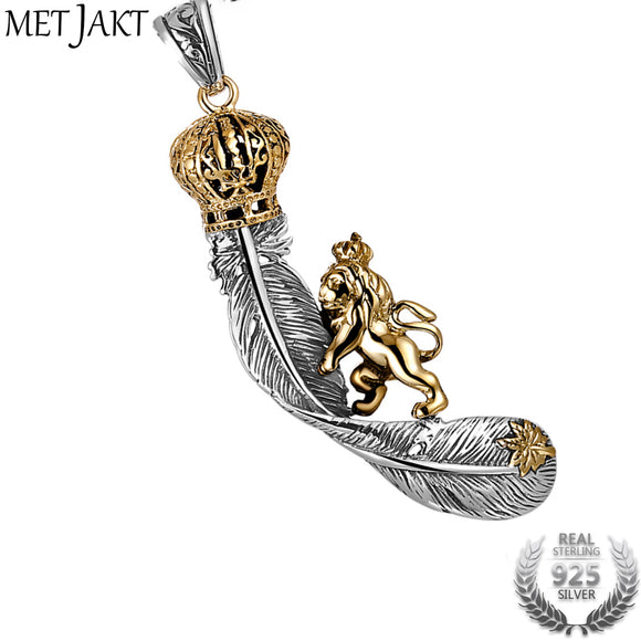 MetJakt Vintage Lion Climbing on Crown Feathers Pendant Solid 925 Sterling Silver Pendant for Necklace Unisex Punk Rock Jewelry