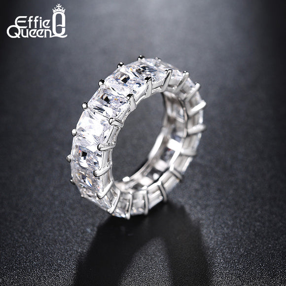 Effie Queen Lover Promise Ring with Cubic Zirconia Crystal Silver Color Female Rings Wedding Band Engagement Jewelry HOR146