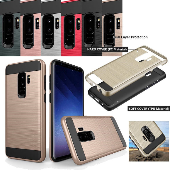 For Samsung Galaxy S9 Plus Hybrid Brushed Armor Case Dual Layer TPU+Hard PC Back Anti Scratch/Drop Cover For Samsung Galaxy S9+