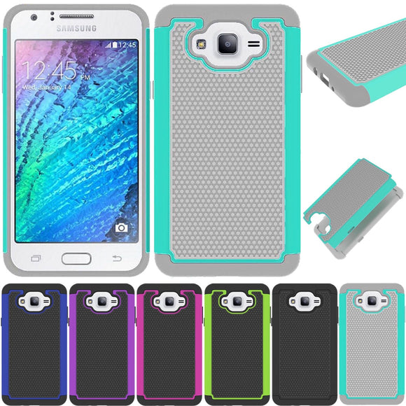 Hybrid Armor Case Anti Slip/Shock/Scratch Dual Layer Soft Rubber & Hard PC Back Cover For Samsung Galaxy J7 J700 J700F J700H