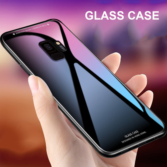 For Samsung Galaxy A8 2018 Case Luxury Slim Fit Glossy Tempered Glass Silicone Frame Hard Cover For Samsung A8 Plus 2018 A6 A8+