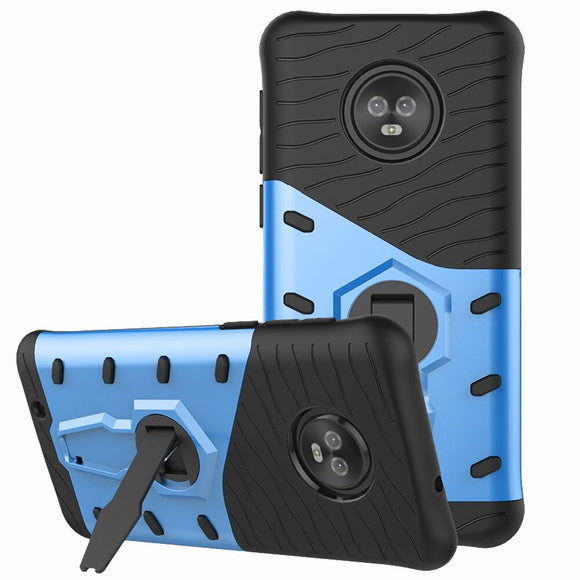 For Motorola Moto G6 Case Dual Layer Hybrid Armor Case With 360 Degree Rotate Kickstand Anti Shock Soft TPU & Hard PC Back Cover