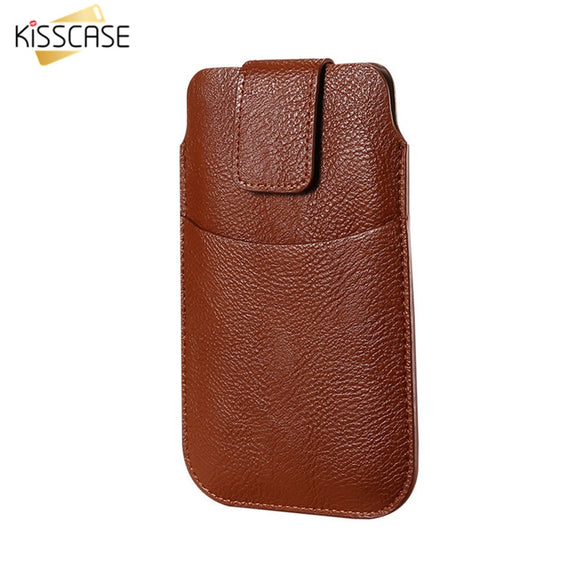 KISSCASE Universal Case For iPhone 6 6s 7 8 Plus X Retro Leather Waist Bag Cover Mobile Phone Case For Samsung S8 Plus S7 S6 S5