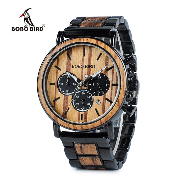 BOBO BIRD Wood Men Watches Stop Watch with Wooden and Stainless Steel Band OEM Stylish Elegant Timepieces Montre Homme K-P09-1