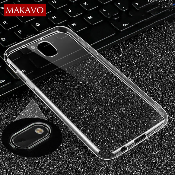 MAKAVO For Samsung Galaxy J3 J5 J7 2017 Case Slim Transparent Silicone Soft Back Cover For Samsung J4 J6 J8 EU Clear Phone Cases