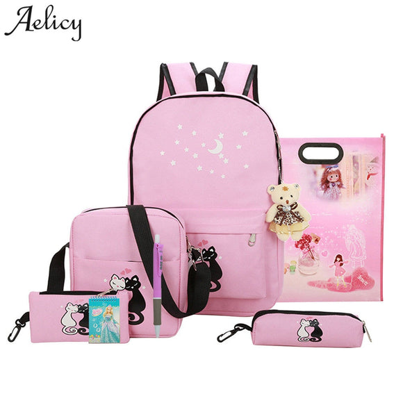 Aelicy Luxury 8 pcs cute animal star printing backpack canvas backpack schoolbag for girls rucksack new design mochila feminina