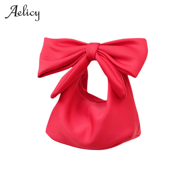 Aelicy High Quality Leather Cute Handbag For Women Lovely Bowknot Space Cotton Handbag Hobos Bag Fashion Accessories for Women