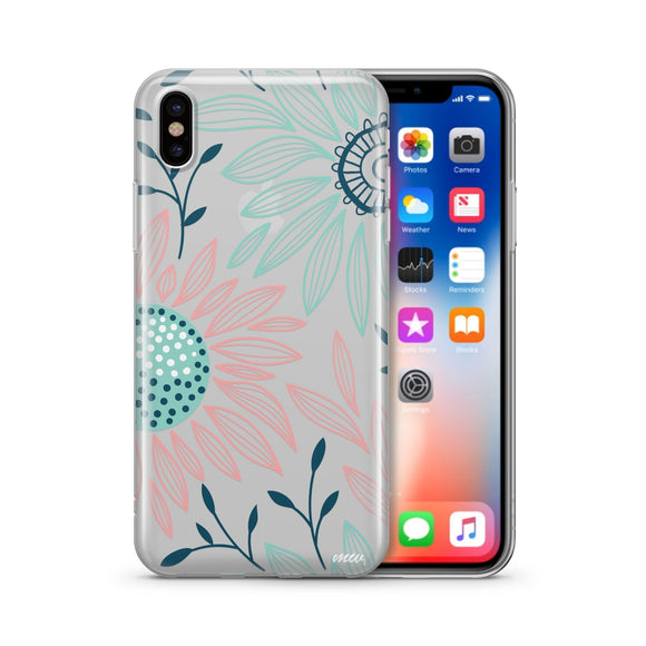 Floral Patch - Clear TPU iPhone Case / Samsung Case Phone Cover