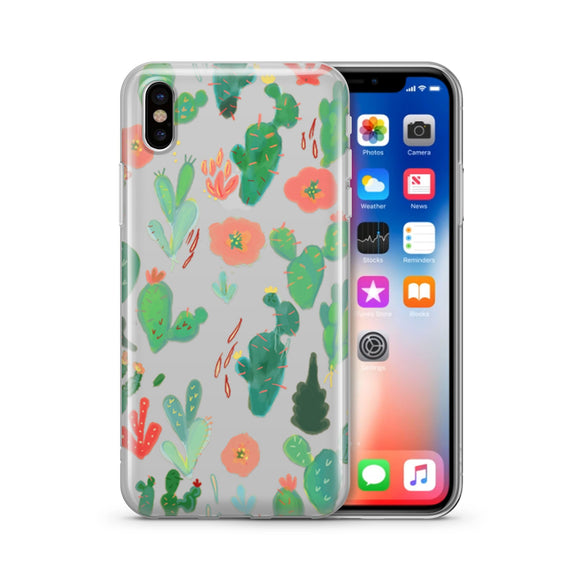 Watercolor Cactus - Clear TPU iPhone Case / Samsung Case Phone Cover